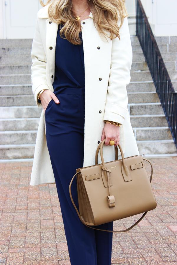Cream Coat Tan Bag
