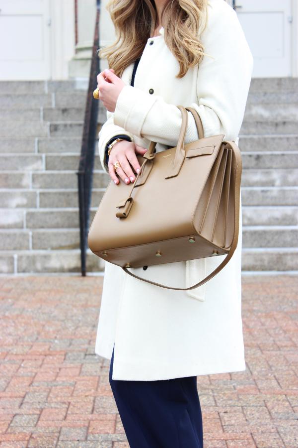 Cream Coat Tan YSL Bag