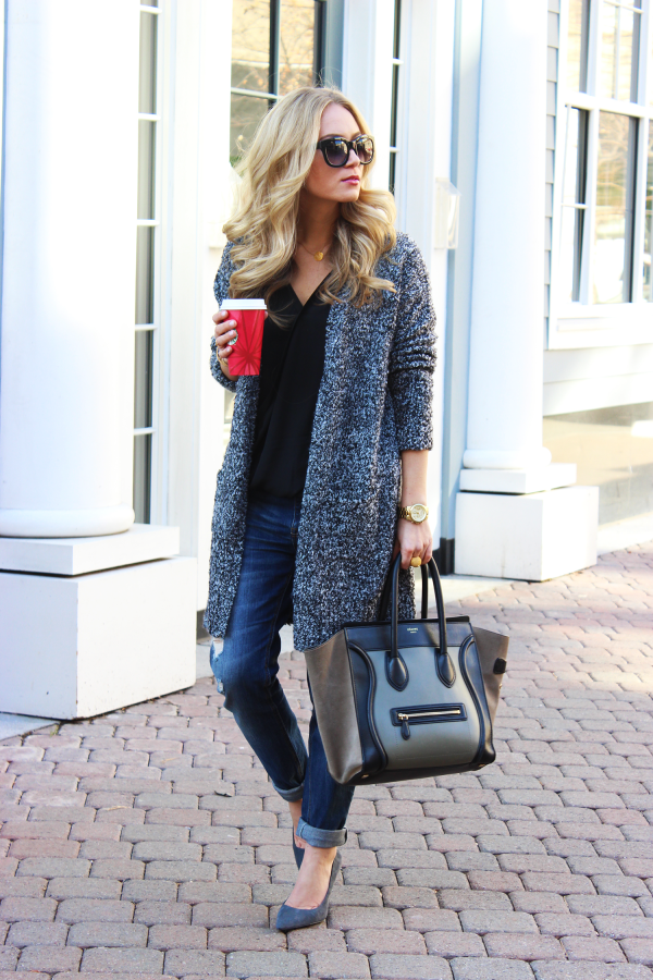 Gray Cardigan Celine Bag