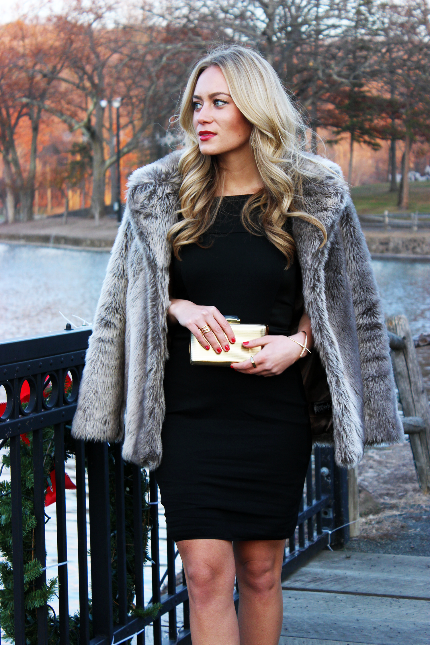 24932b027395 Holiday Black Dress with Faux Fur - Style Cusp