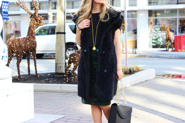 Oversized Fur Vest and Sequin Skirt