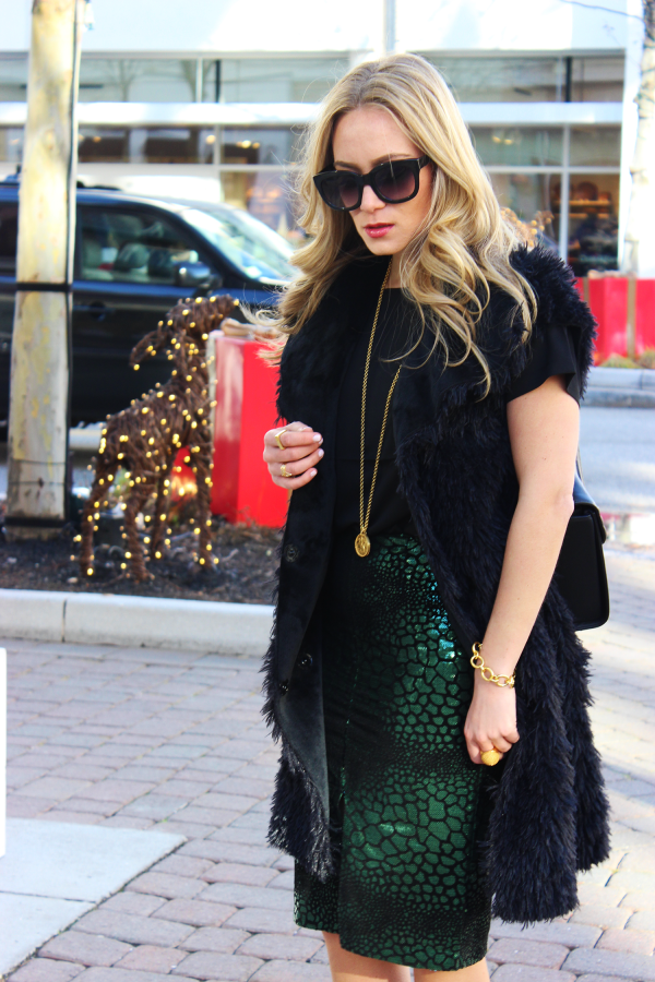 Sequined Croc Pencil Skirt