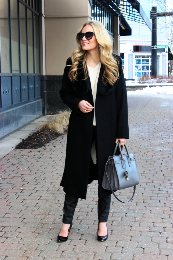 Black Coat, YSL Bag
