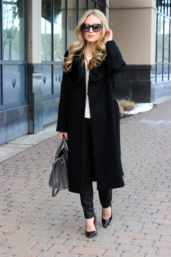 Black Coat, YSL Bag, Black Pumps