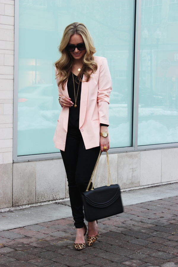 Blush Blazer Black Skinnies Leopard Pumps