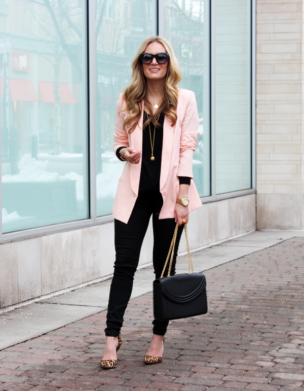 Blush Blazer Leopard Pumps Black Skinnies