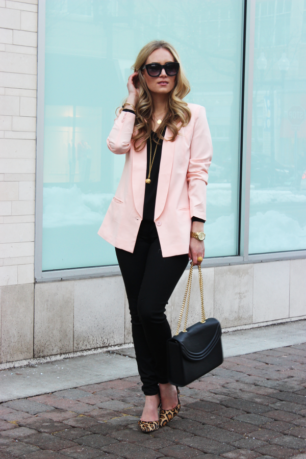 Blush Blazer and Leopard Heels