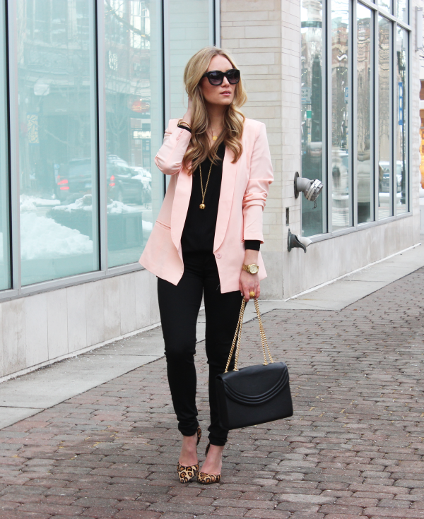 Blush Pink Blazer with Leopard Pumps