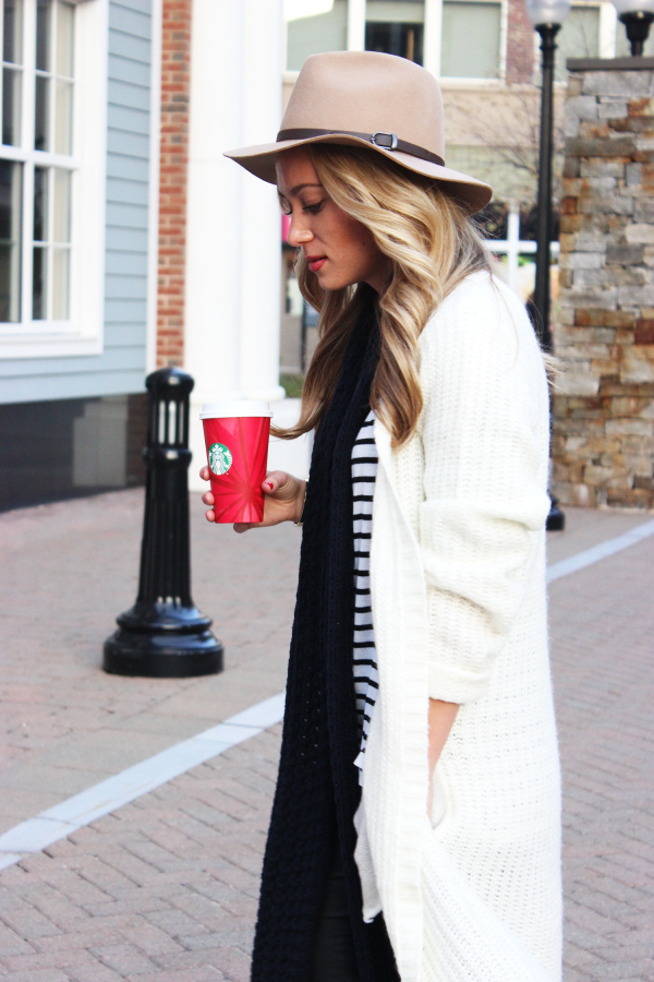 Cream Cardigan Camel Fedora Stripes