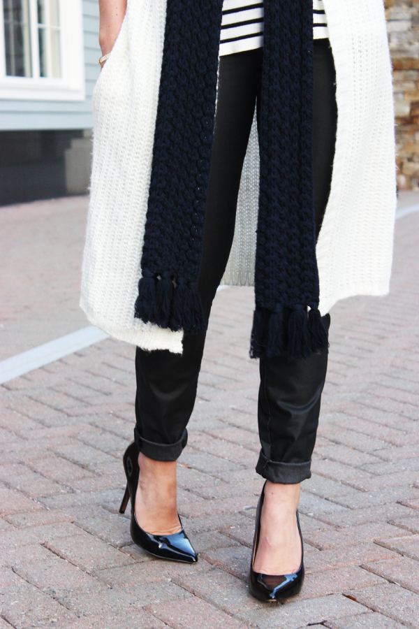 Leather pants and pumps