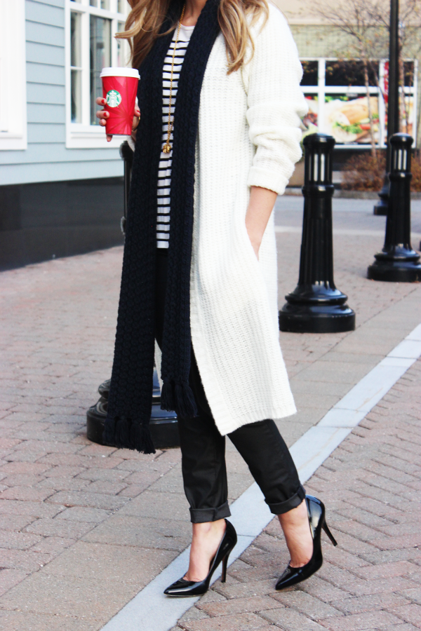 Long Cardigan Pumps Stripes