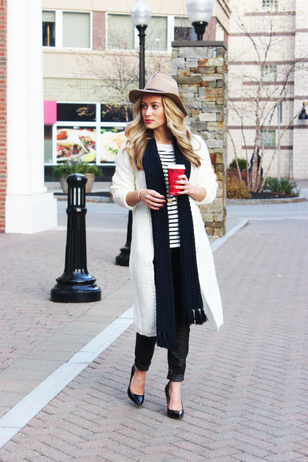 Navy Scarf and Stripes