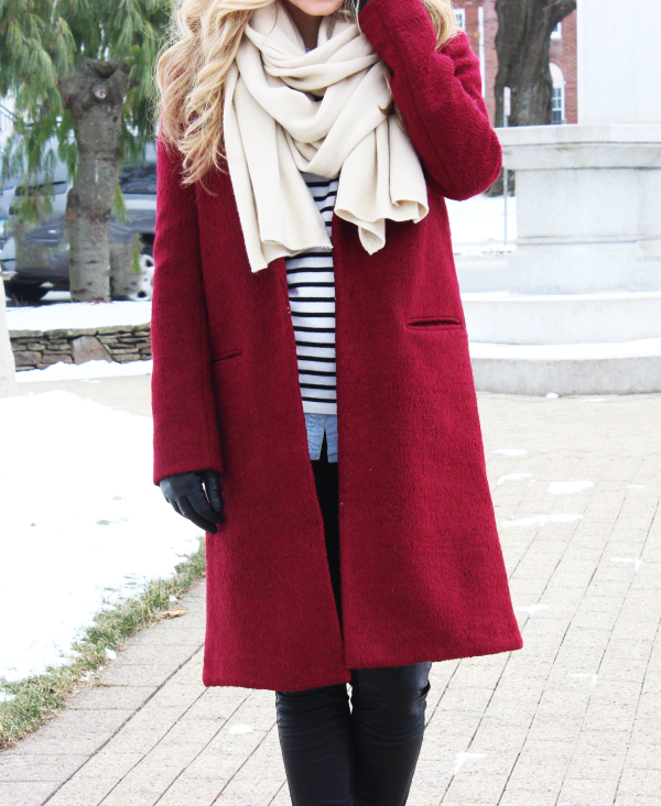 Red Coat Tan Scarf