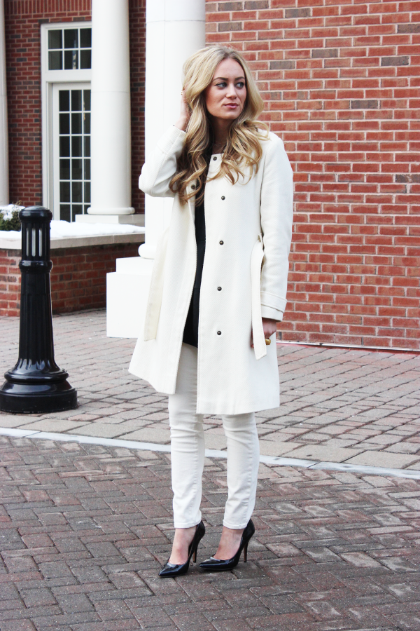 Winter White Coat and Denim