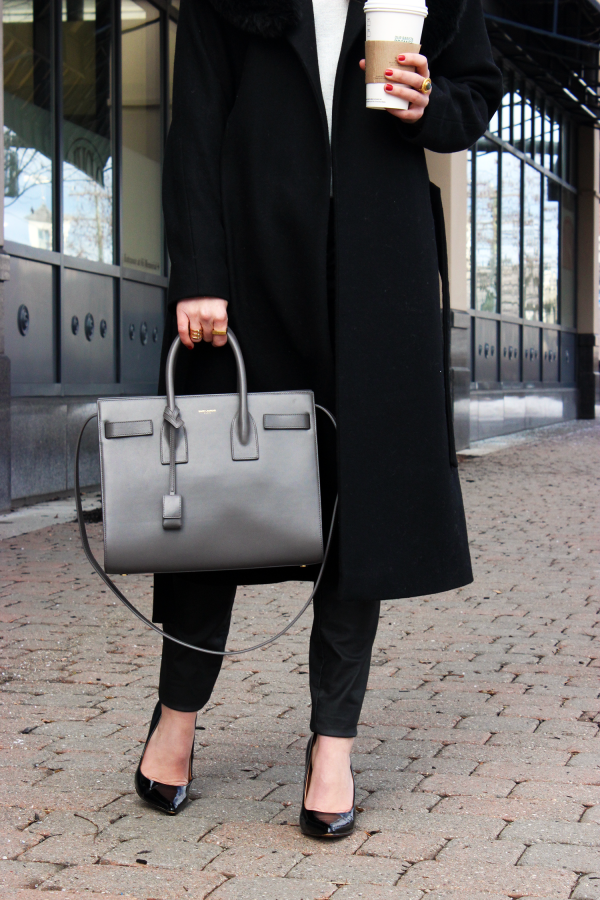 YSL Bag, Black Pumps Starbucks