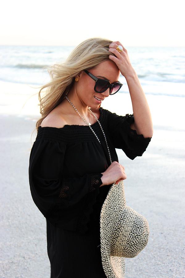 Black Beach dress Floppy Hat