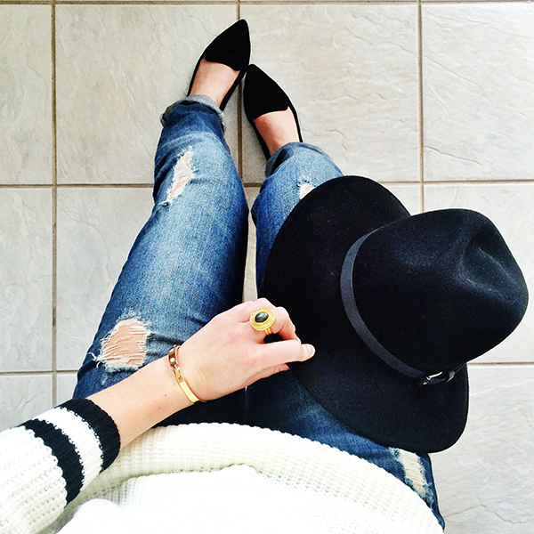 Black Fedora, Loafers Ripped Jeans