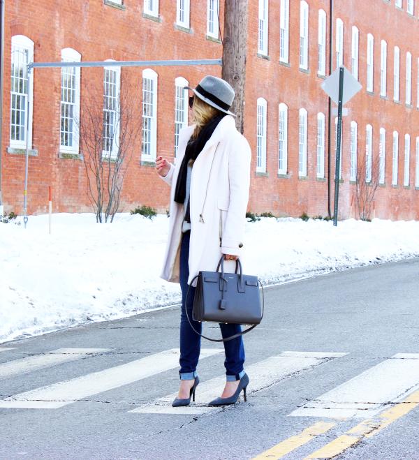 Blush Coat YSL Gray Bag