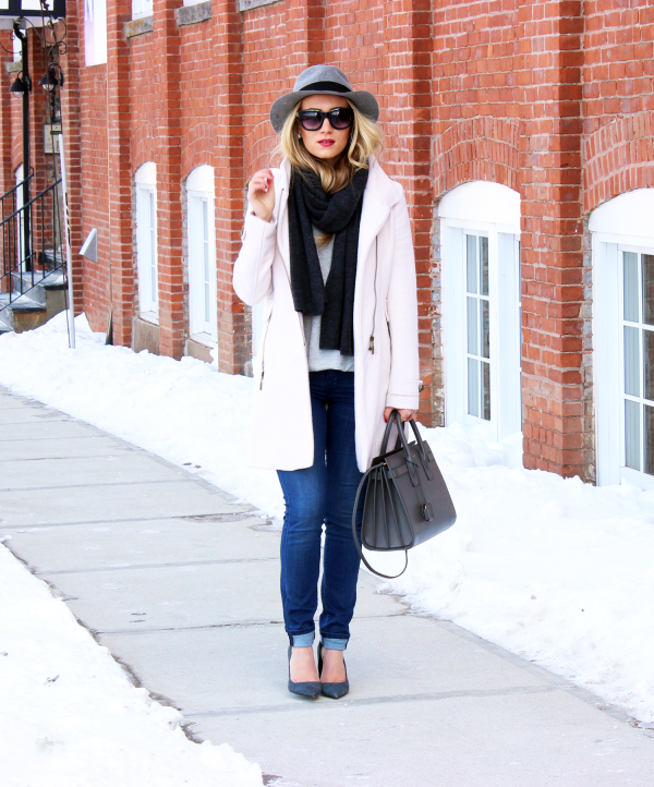 Blush Coat with Gray Accessories