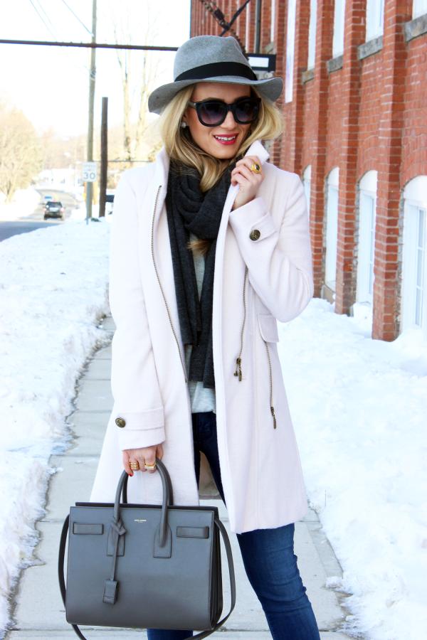 Blush Coat with Gray YSL Bag