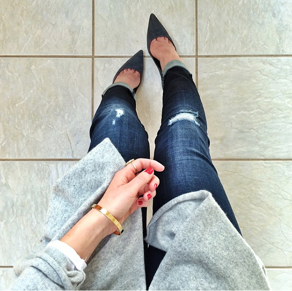 Gray Cardigan Gray Pumps Ripped Jeans