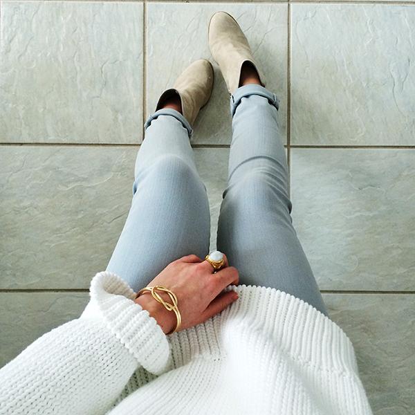 Gray Denim White Sweater