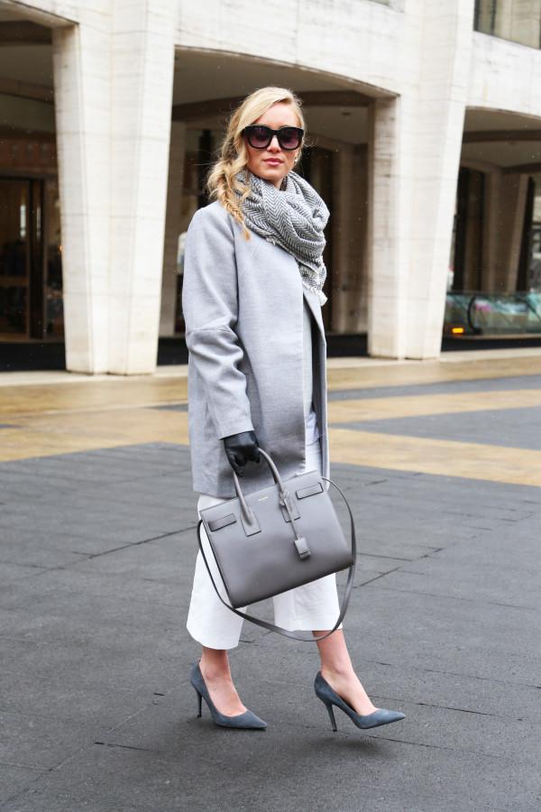 Gray coat Gray pumps