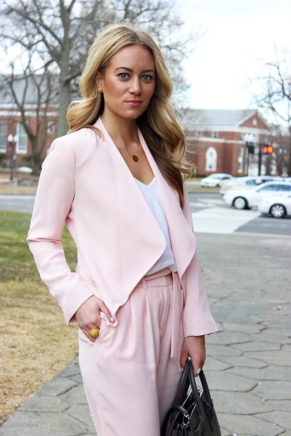 b892cc45da65 Spring Workwear Draped Pink Blazer ...