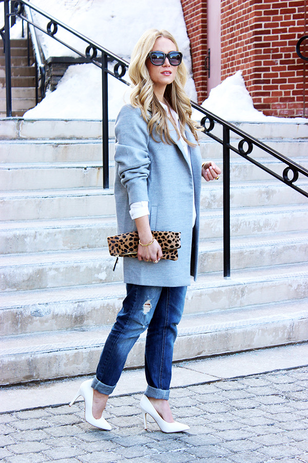 Gray Coat Distressed Jeans