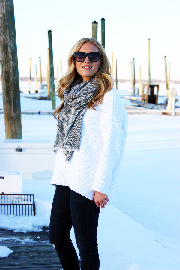 Herringbone Scarf White Sweater