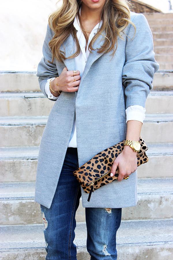 Leopard Clutch Gray Coat