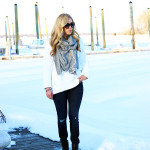 White Sweater Reipped Jeans