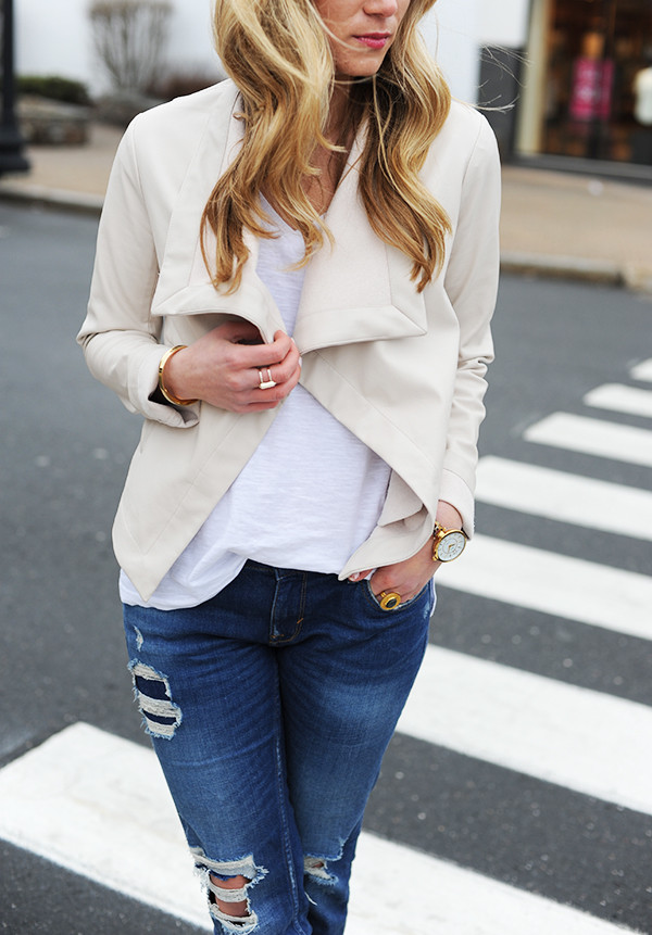 Draped Jacket with Ripped Jeans