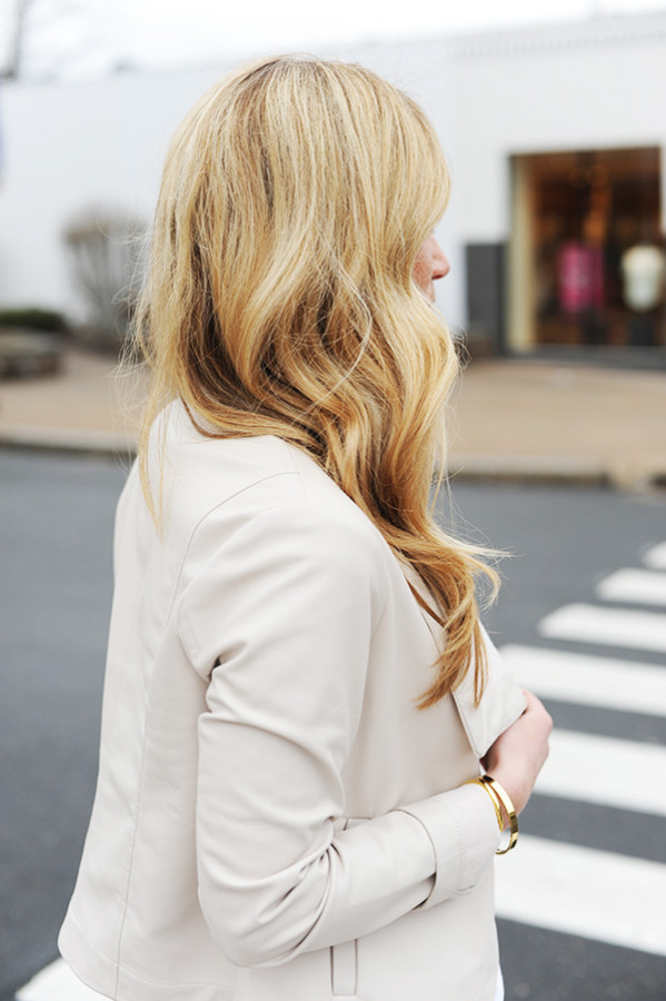Nude Faux Leather Jacket Blonde Beach Waves