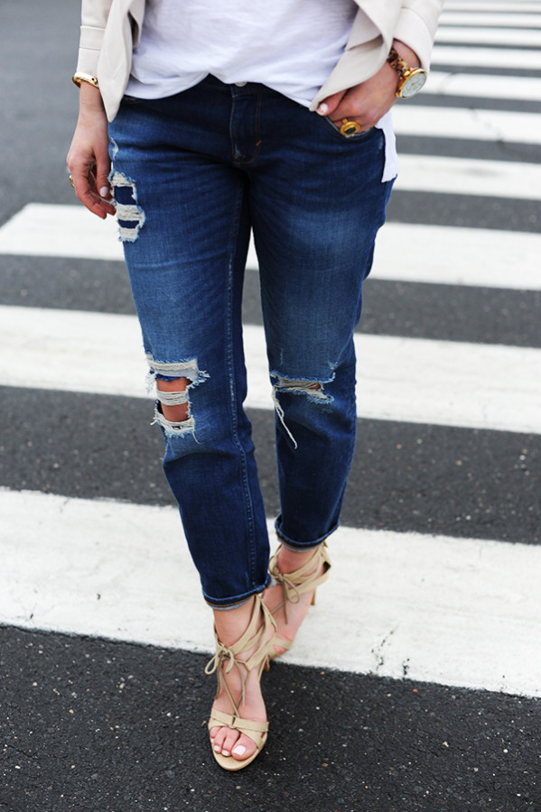 Ripped Denim with Strappy Heels