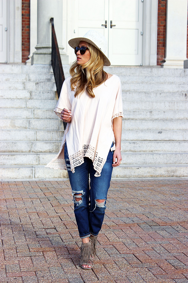 Ripped Jeans Fringe Heels