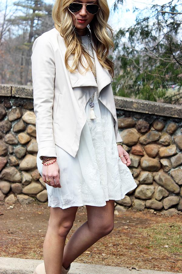 White Dress Nude Jacket Festival Style