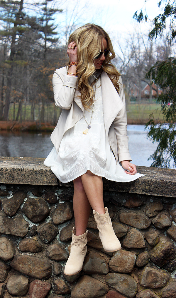 White Dress Nude Jacket