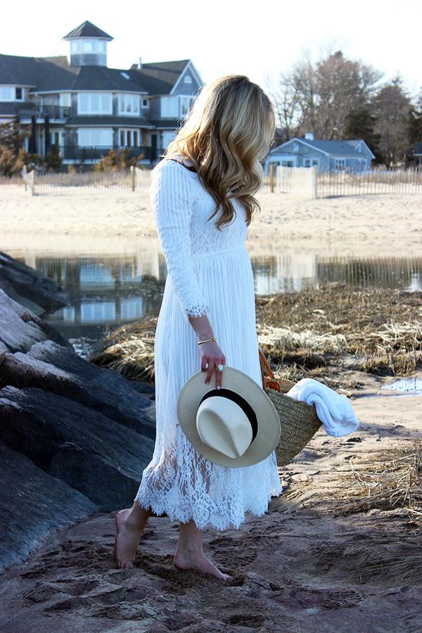 White Dress and Panama Hat