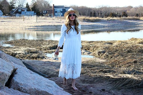 White Midi Lace Dress