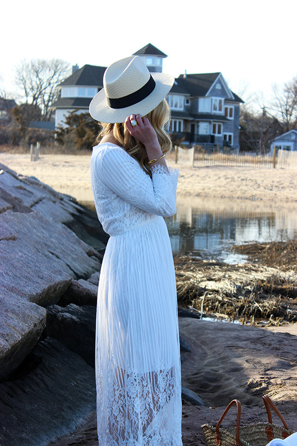 White Panama Hat with Lace Dress