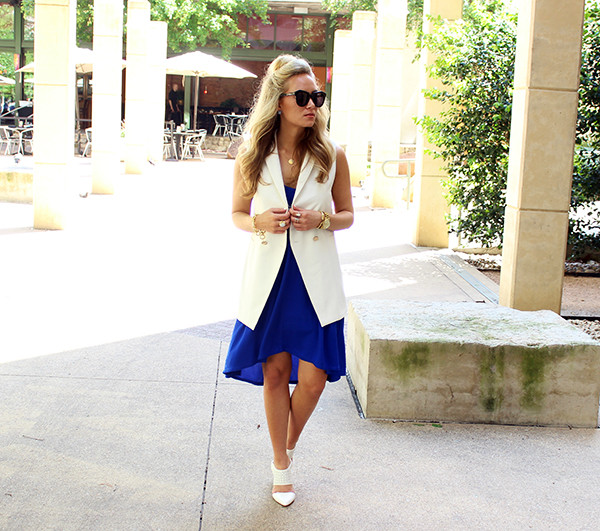 Blue Dress with White Vest