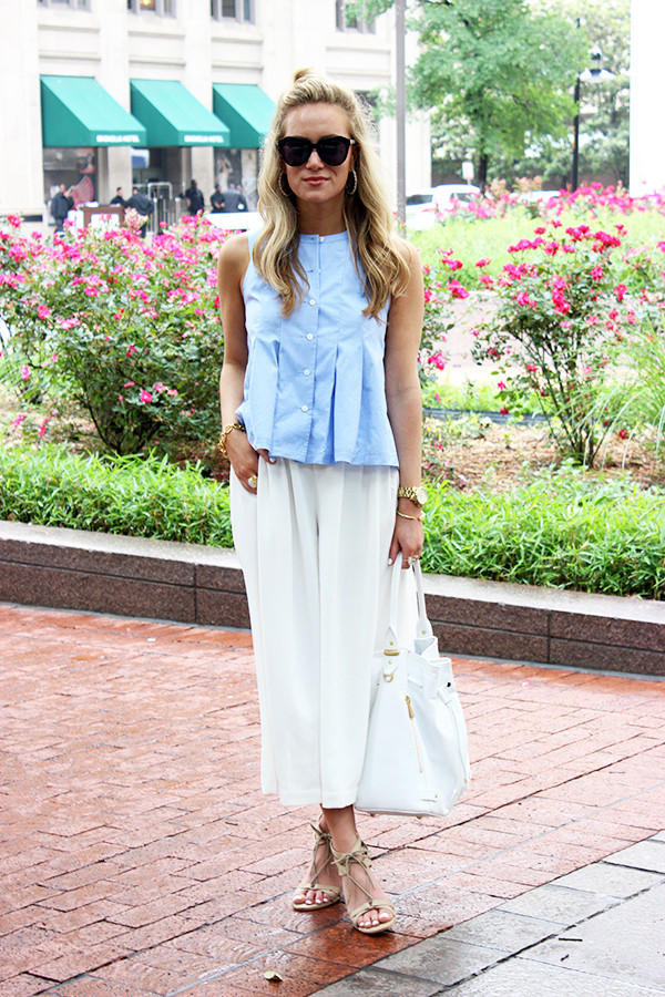 Blue Top with White Pants