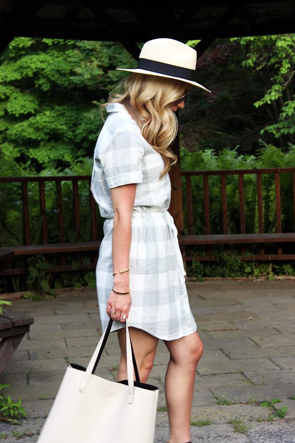 Panama Hat Plaid Dress