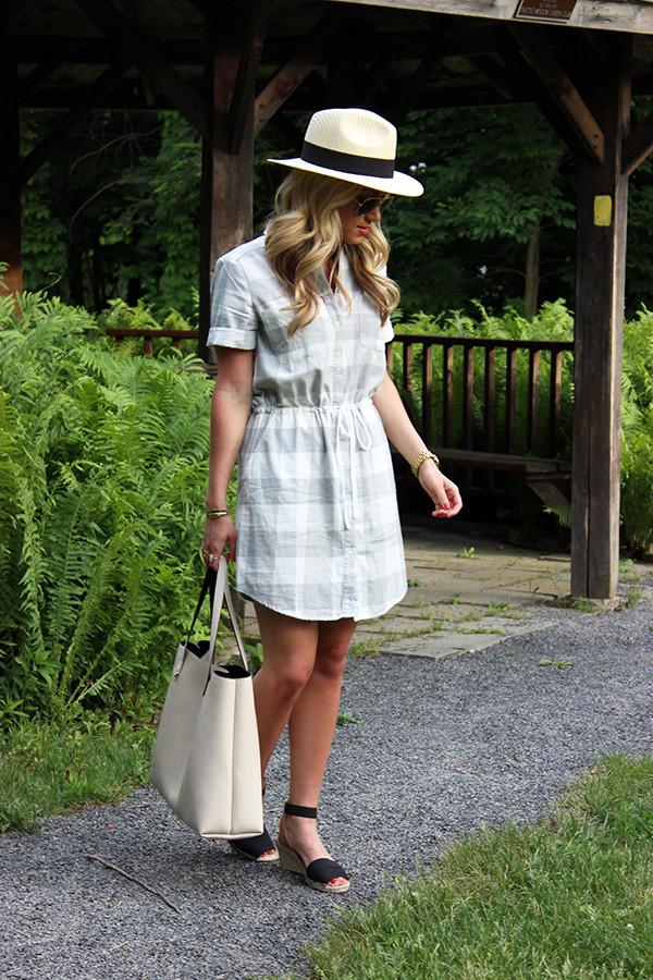 Plaid Dress Panama Hat