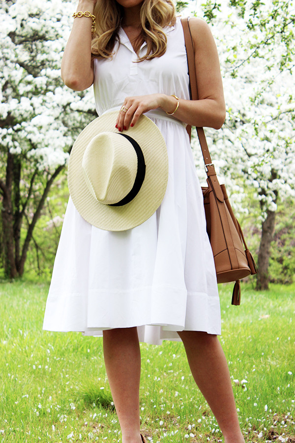 White Dress with Panama Hat