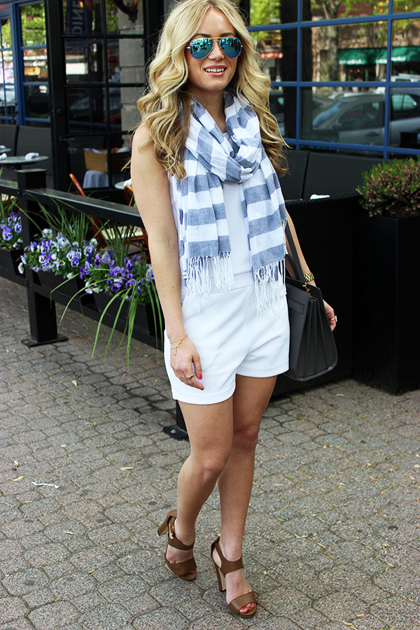 White Romper with Scarf