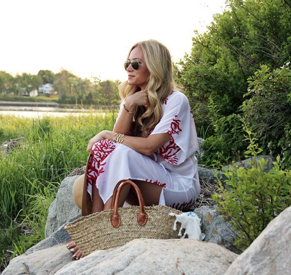 629f7c09e4 Coral-Print-Coverup Blogger-Beach-Style ...