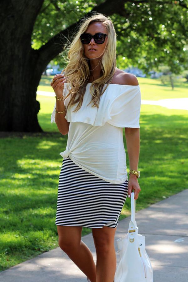 Off-Shoulder-Top-Stripe-Skirt