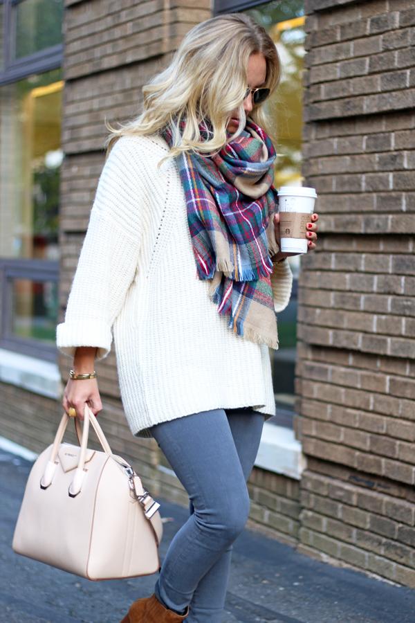 Cream-Sweater-Plaid-Scarf
